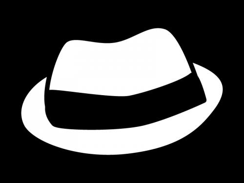 帽子の白黒イラスト