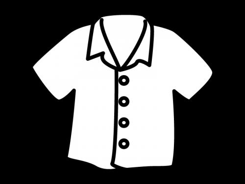洋服・ボタンシャツの白黒イラスト