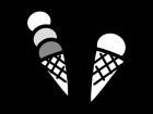 アイスクリームの白黒イラスト