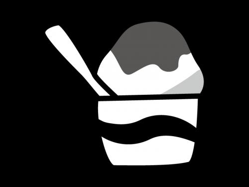 かき氷の白黒イラスト04