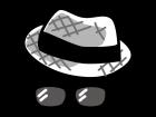 オシャレな帽子とサングラスの白黒イラスト
