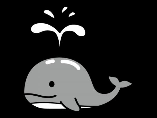 かわいいクジラの白黒イラスト
