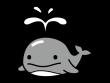 かわいいクジラの白黒イラスト02