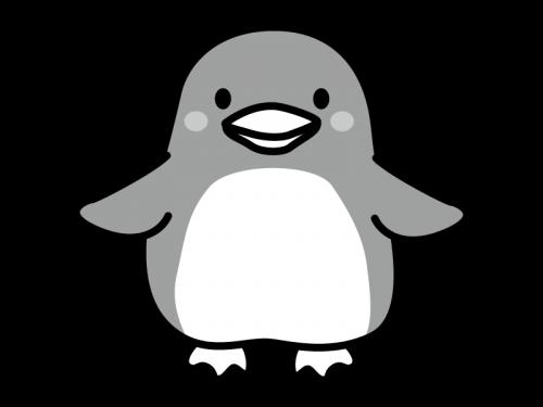 かわいいペンギンの白黒イラスト