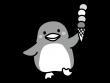アイスクリームを持ったペンギンの白黒イラスト
