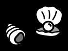 巻き貝・真珠貝の白黒イラスト