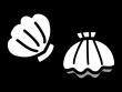 ホタテ貝の白黒イラスト