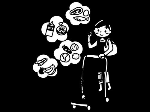 買い物をする主婦の白黒イラスト