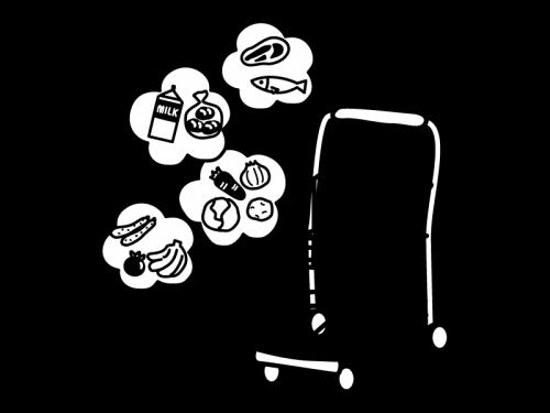 買い物をイメージしたカートの白黒イラスト