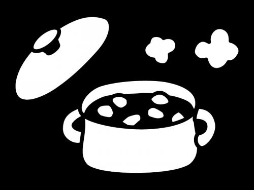 鍋に入ったカレー・煮物の白黒イラスト