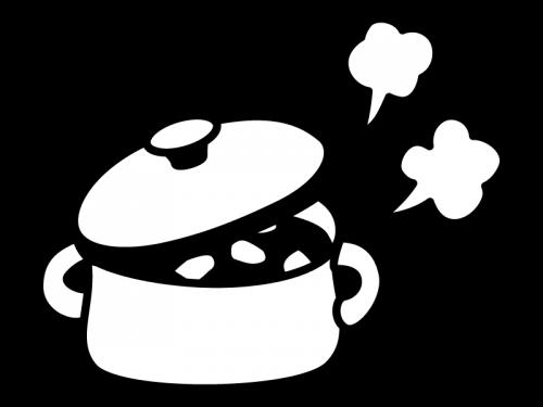 鍋に入ったカレー・煮物の白黒イラスト02