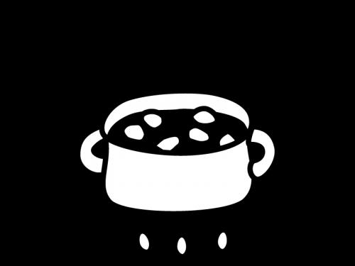 煮物やカレーの調理の白黒イラスト