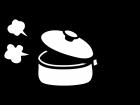 湯気が出て熱々の鍋の白黒イラスト02