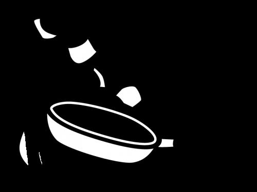 フライパンで野菜炒めの白黒イラスト