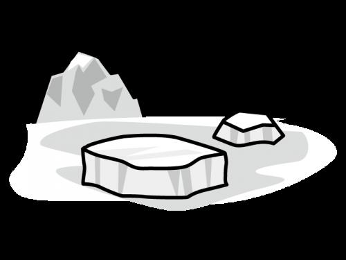 氷山・氷の島の白黒イラスト