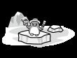 氷の上に立つペンギンの白黒イラスト