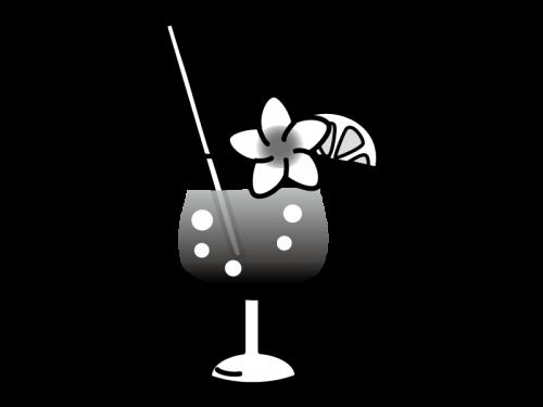 トロピカルジュースの白黒イラスト