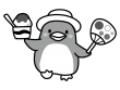 うちわとかき氷を持っているペンギンの白黒イラスト