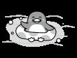 浮輪で遊ぶペンギンの白黒イラスト