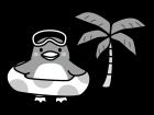 浮輪とペンギンの白黒イラスト