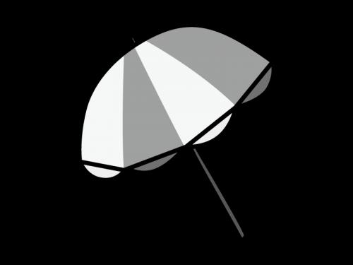 ビーチパラソルの白黒イラスト