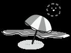 海・ビーチの白黒イラスト