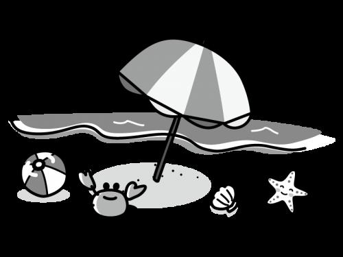ビーチとカニや貝などの白黒イラスト