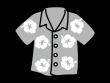 アロハシャツの白黒イラスト