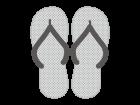 ビーチサンダルの白黒イラスト