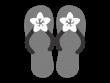 花飾りのビーチサンダルの白黒イラスト02