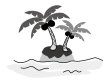 海とヤシの木の白黒イラスト