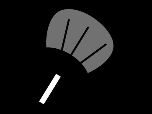 うちわ(団扇)の白黒イラスト