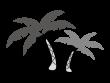 ヤシの木の白黒イラスト