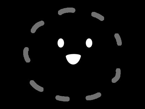かわいい笑顔の太陽の白黒イラスト02