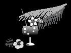 ハイビスカスとトロピカルジュースの白黒イラスト