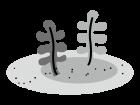 わかめなどの海藻類の白黒イラスト