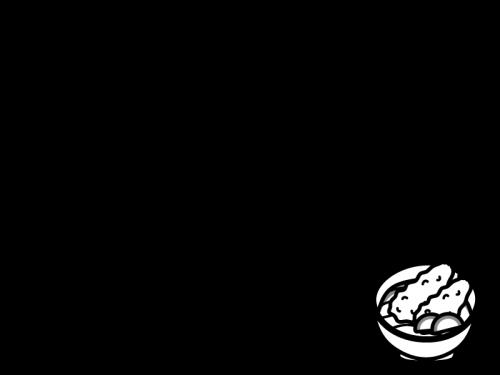 海老天うどんのフレーム・枠の白黒イラスト
