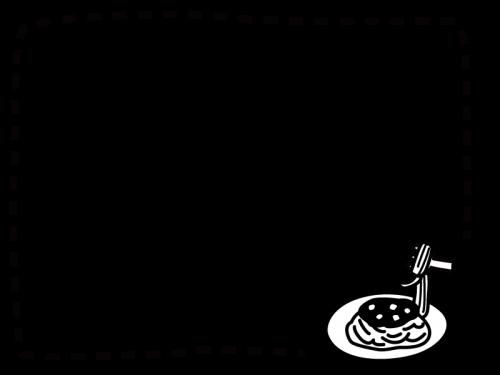 パスタのフレーム・枠の白黒イラスト