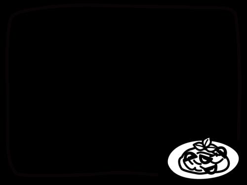 パスタのフレーム・枠の白黒イラスト02