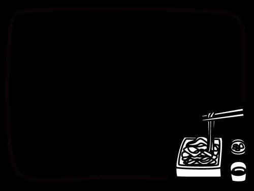 ざる蕎麦のフレーム枠の白黒イラスト かわいい無料の白黒イラスト