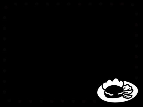 ハンバーグのフレーム・枠の白黒イラスト