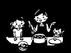 親子で料理をしている白黒イラスト02