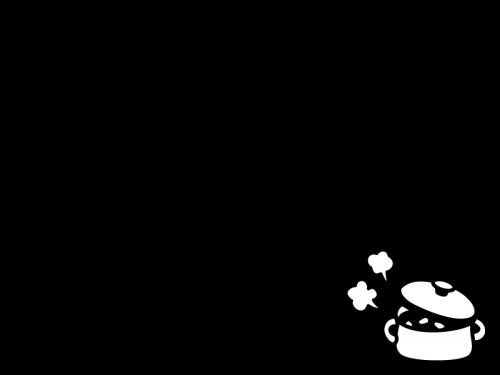 湯気が出ている鍋のフレーム・枠の白黒イラスト