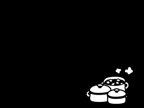 お鍋のフレーム・枠の白黒イラスト