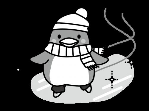 スケートをするペンギンの白黒イラスト