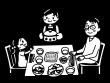 家族で食事をしている白黒イラスト