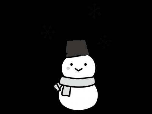 雪だるまの白黒イラスト02
