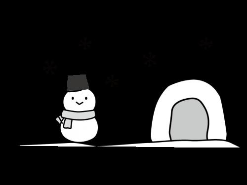 雪だるまとかまくらの白黒イラスト