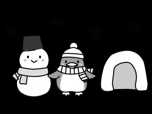 雪だるまとペンギンの白黒イラスト