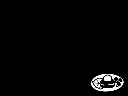 和風おろしハンバーグのフレーム・枠の白黒イラスト